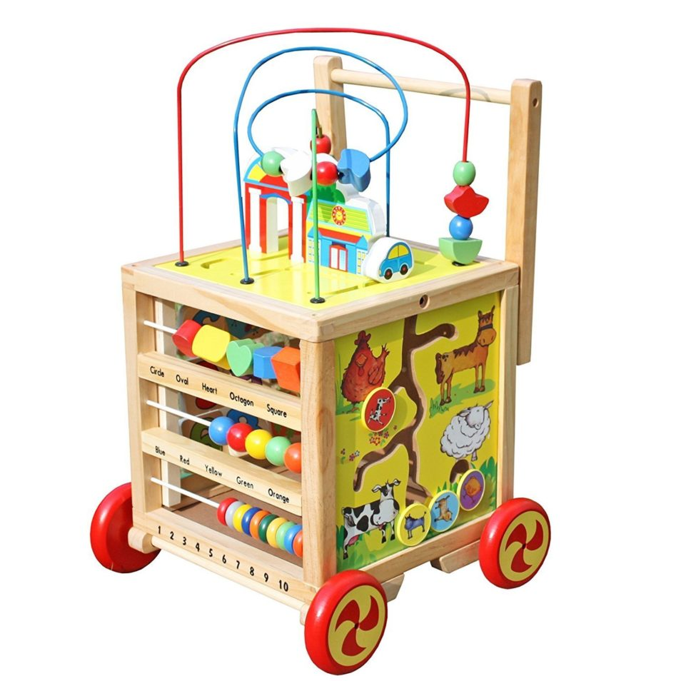 Timy Wooden Learning Bead Maze Cube 5 in 1 Activity Center ...